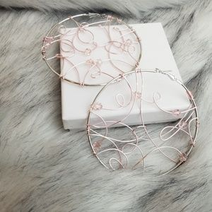 Handcrafted wire crystal hoop earrings